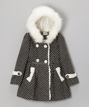 Black & White Dot Hooded Coat - Girls