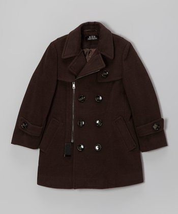 Brown Zip-Up Peacoat - Boys