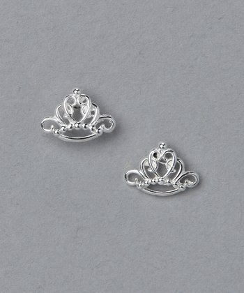 Sterling Silver Princess Crown Earrings
