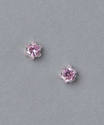 Pink & Sterling Silver Princess Stud Earrings