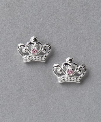 Pink & Sterling Silver Princess Crown Earrings