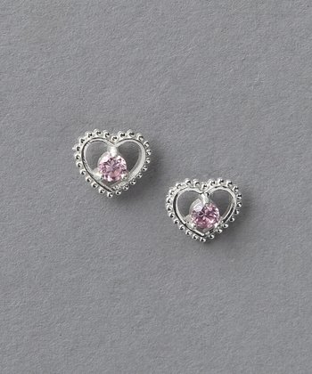 Pink & Sterling Silver Princess Heart Earrings