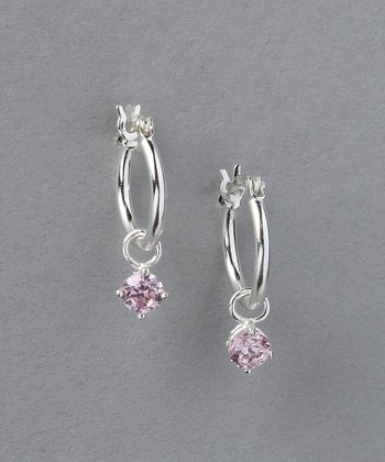 Pink Sterling Silver Princess Hoop Earrings