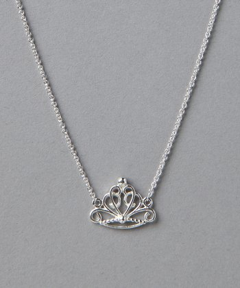 Sterling Silver Princess Tiara Pendant Necklace