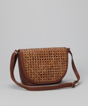 Straw Studios Brown Circle-Weave Crossbody Bag