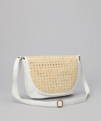 Straw Studios White Circle-Weave Crossbody Bag