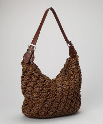 Straw Studios Brown Woven Straw Flexible Shoulder Bag