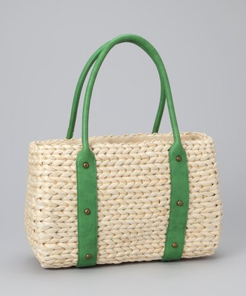 Straw Studios Green Studded Tote
