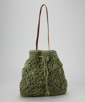 Straw Studios Green Small Bucket Bag