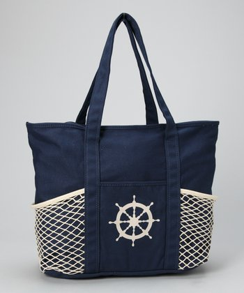 Navy & Cream Net Tote