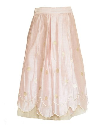 rayil blush pale gold cloud silk maxi skirt toddler