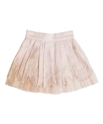 Blush & Pale Gold Cloud Silk Skirt - Toddler & Girls