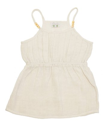 Ivory Pleated Bead Top - Toddler & Girls