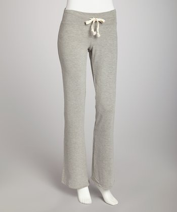 Heather Gray Basic Flare Drawstring Pants