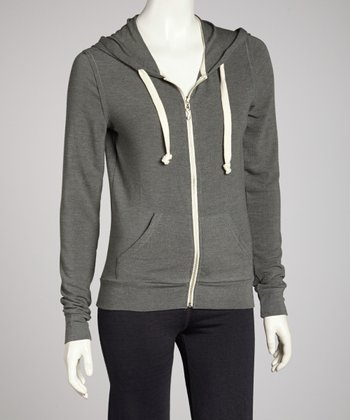 Hunter Green Heathered Zip-Up Hoodie