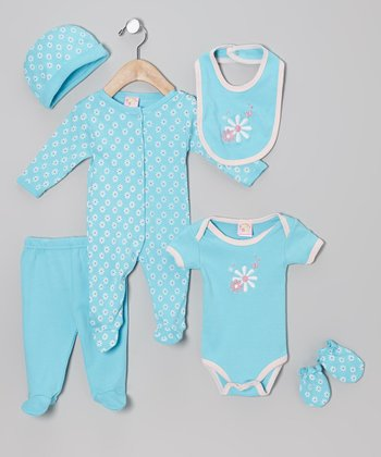 Turquoise Flower Power Six-Piece Layette Set