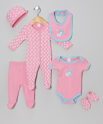 Pink Flower Power Six-Piece Layette Set