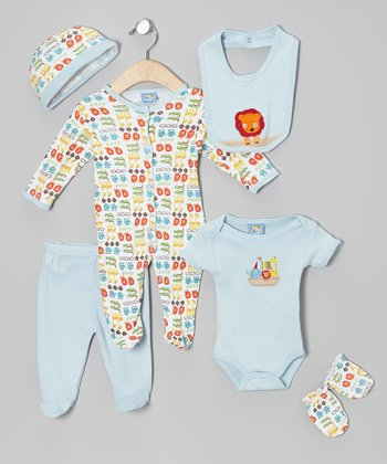 Sweet & Soft Light Blue Animal Friends Six-Piece Layette Set - Infant