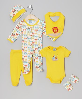 Yellow Animal Friends Six-Piece Layette Set