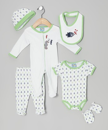 Sweet & Soft Green Undersea Bubbles Six-Piece Layette Set - Infant