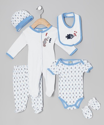 Sweet & Soft Blue Undersea Bubbles Six-Piece Layette Set - Infant