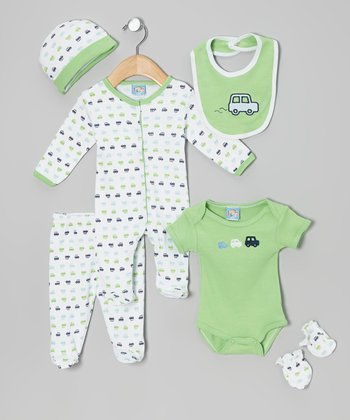Sweet & Soft Green Car Six-Piece Layette Set - Infant
