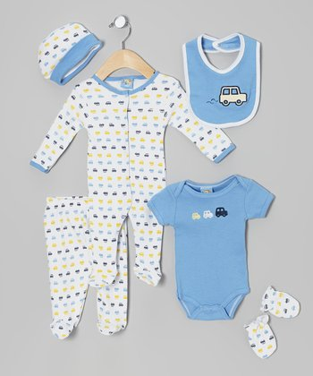Sweet & Soft Blue Car Six-Piece Layette Set - Infant