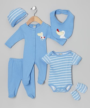 Sweet & Soft Blue Pelican Six-Piece Layette Set - Infant