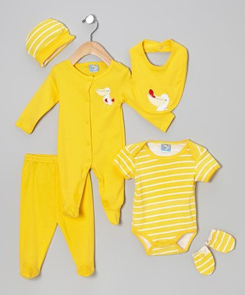 Yellow Pelican Six-Piece Layette Set