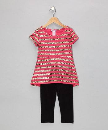 Hot Pink & Leopard Stripe Tunic & Leggings - Girls