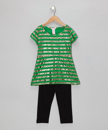 Green & Leopard Stripe Tunic & Leggings - Girls