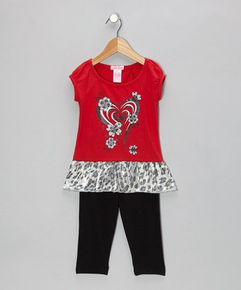 Red Heart Ruffle Tunic & Leggings - Toddler & Girls