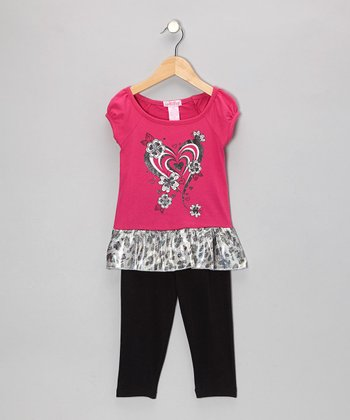 Hot Pink Heart Ruffle Tunic & Leggings - Toddler & Girls