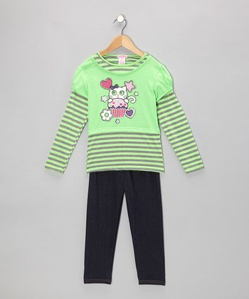 Lime Stripe Kitty Layered Tunic & Jeggings - Toddler & Girls
