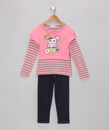 Hot Pink Stripe Kitty Layered Tunic & Jeggings - Toddler & Girls