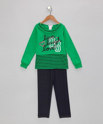 Green Stripe Layered Tunic & Jeggings - Toddler & Girls