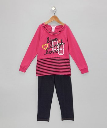Hot Pink Stripe Layered Tunic & Jeggings - Toddler & Girls