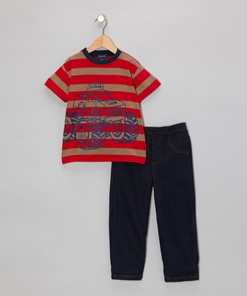 Red Stripe Monster Truck Tee & Denim Jeans - Infant & Toddler