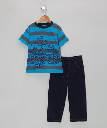 Blue Stripe Monster Truck Tee & Denim Jeans - Infant & Toddler