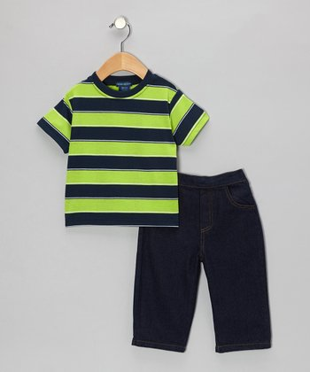 Lime Stripe Tee & Denim Jeans - Infant & Toddler