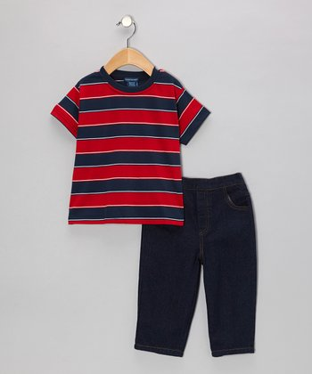 Red Stripe Tee & Denim Jeans - Infant & Toddler