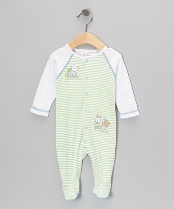 Green Rabbit & Dog Footie - Infant