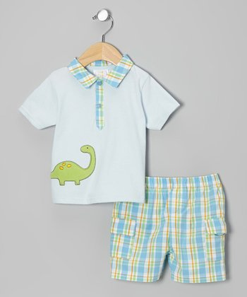 Blue Dinosaur Polo & Shorts - Infant & Toddler