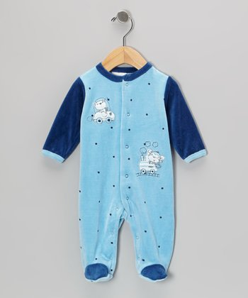 Blue Bear & Monkey Footie - Infant