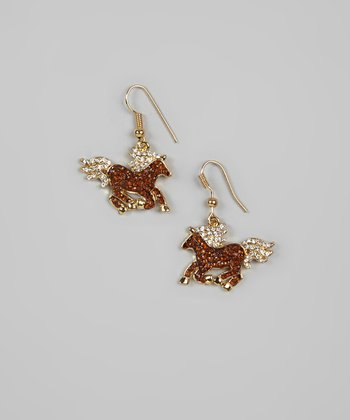 Gold Rhinestone Horse Earrings