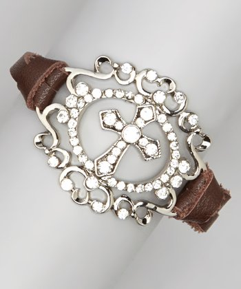 Silver & Brown Cross Medallion Bracelet