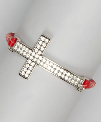 Red Leather Braid Rhinestone Cross Bracelet