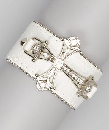 Silver & White Ornate Cross Bracelet
