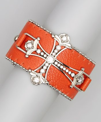 Silver & Orange Ornate Cross Bracelet