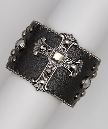 Black Hematite Studded Cross Bracelet